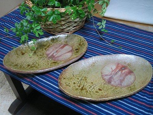 夏草紋様楕円皿